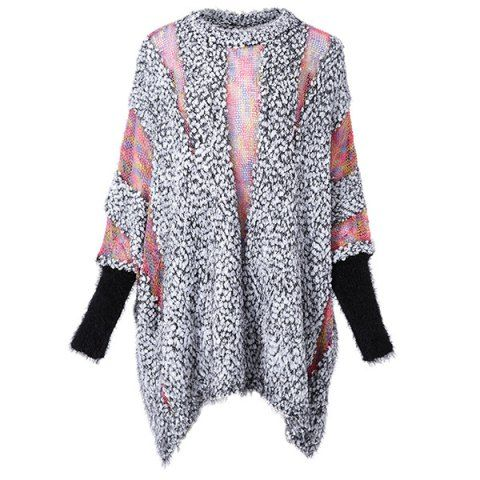 Batwing Sleeves Round Neck Openwork Knitting Splicing Polar Fleece Loose-Fitting Casual Women's Knitwear Sweaters & Cardigans | RoseGal.com Mobile