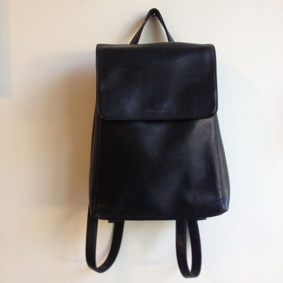 Minimalist leather backpack. 1990's leather by FlowersAndSkin
