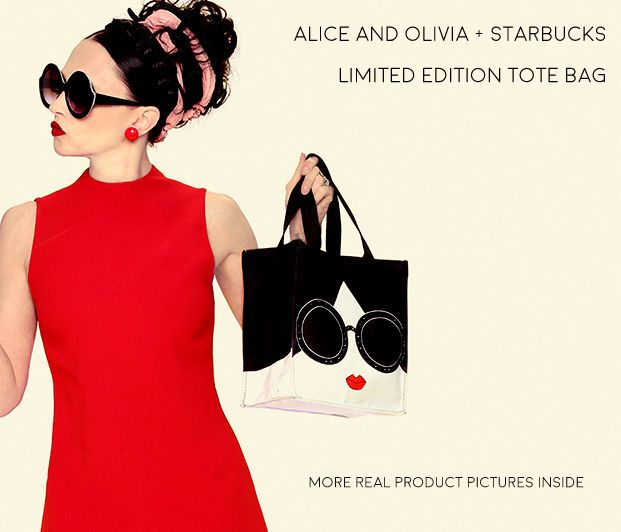 Starbucks Alice Olivia TOTE BAG Crystal Portrait Stacey Face Happiness XOXO FREE #StarbucksCoffeeCompany