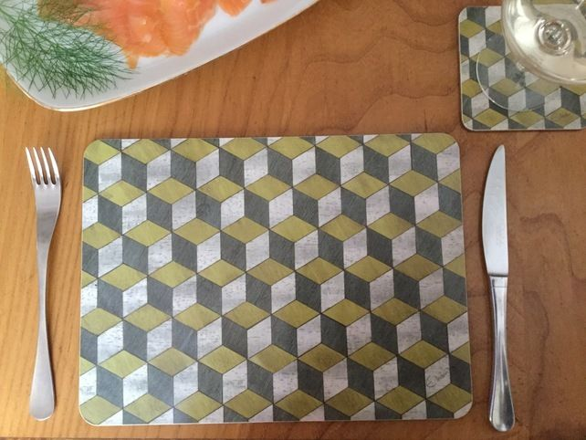 Placemats Set Mustard And Grey Melamine Coated For Heat Resistance To140 C Placemats Cleaning Wipes Mid Century Design