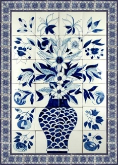 Blue and White Mexican Hand Painted Ceramic Tile Mural