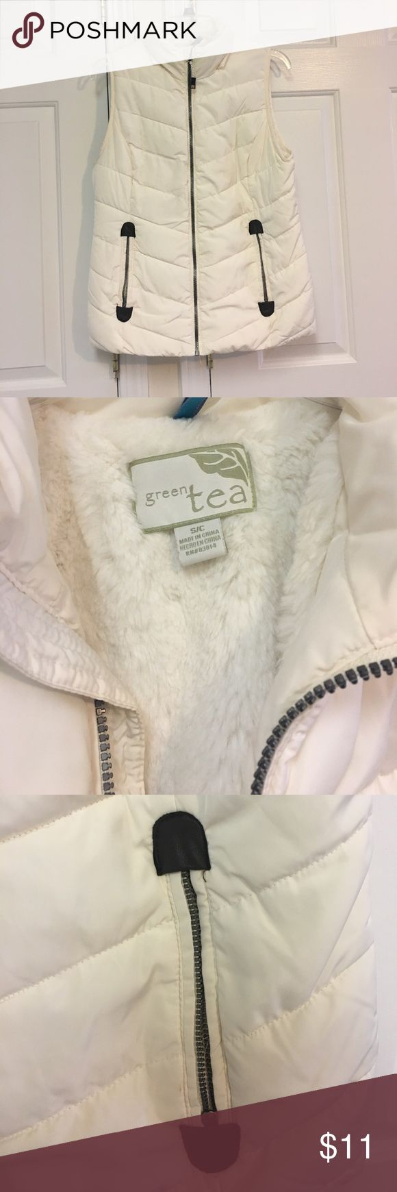 Off-white puffer vest Off white Green Tea puffer vest. Very fuzzy and cozy on the interior. Size small! Has been worn only 2-3 times 😊 Jackets & Coats Vests
