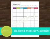 Printable Monthly Calendar - undated with notes
