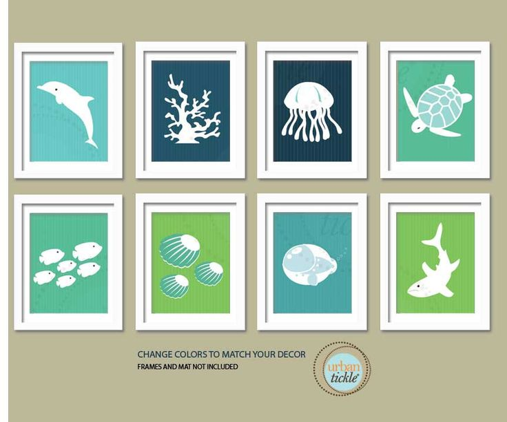 Sea Print Set. Ocean Gallery. Set of 8, 5X7, Nursery decor, Boy or Girl room decor, Birthday Gift, Sea world Artwork. $42.00, via Etsy.
