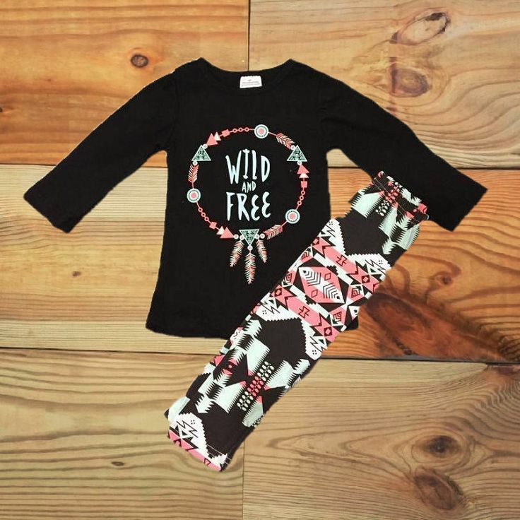 "Baby Girl Clothes, Outfit, ""Wild & Free"", Dream Catcher, Aztec Leggings…"
