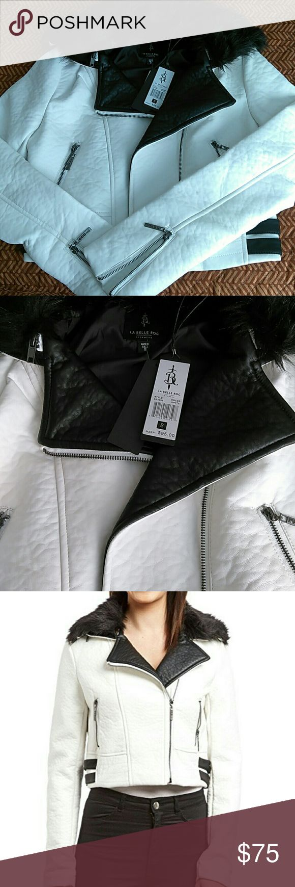 New La Belle Roc Faux Leather Jacket New La Belle Roc by Rocawear Broken Heart Faux Leather Jacket. Zip off fur collar. The jacket is white with black trim. *I included a stock photo in black with white trim so you can see how cute it looks thrown over the shoulders or open.* La Belle Roc by Rocawear Jackets & Coats