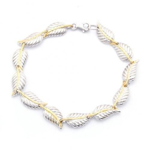 Bling Jewelry Sterling Silver Nature Leaf Bracelet 7 Inch
