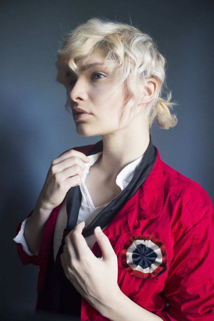 """criedwolves: """" """"Vive la France! Vive la Révolution!"""" this is my take on the character enjolras from les mis. it's one of my favourite musicals and i wanted to try it out while i still have blond hair"""