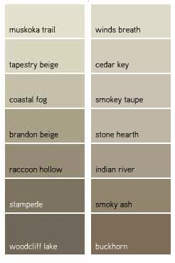 Benjamin Moore Favorite Taupes - raccoon hollow, indian river, brandon beige, stampede                                                                                                                                                      More