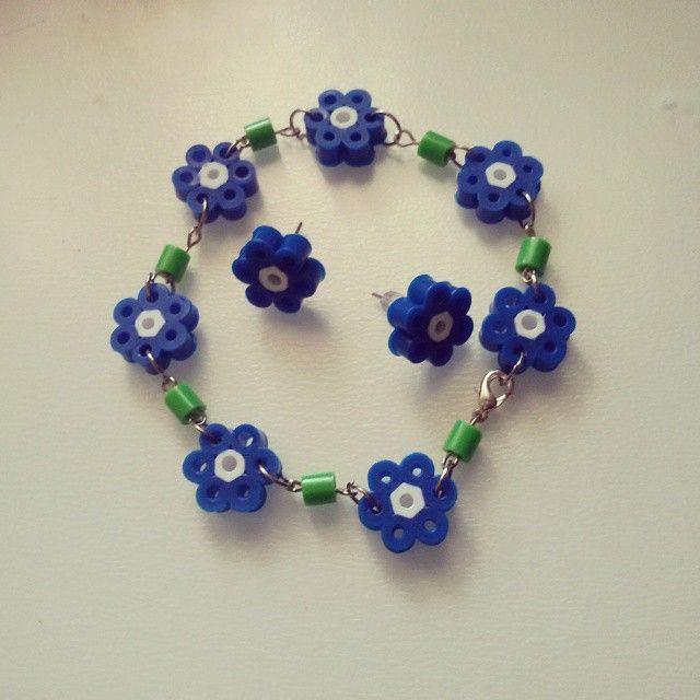 Bracelet and earrings - Jewelry set hama beads by Las cositas de Ru