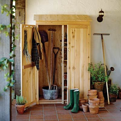 Build a handsome wood lean-to shed against the house near the patio or garden. If it's made from cedar, a naturally rot-resistant wood, it will weather nicely while protecting your goods from precipitation and insects alike. #summerprojects #DIY