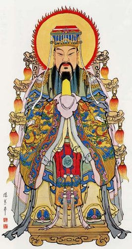 A print of the Jade Emperor, (aka Yuhuang Shangdi and Yudi), the supreme deity in Chinese traditional religion. He is often depicted, as here, seated on a throne and wearing full imperial costume.