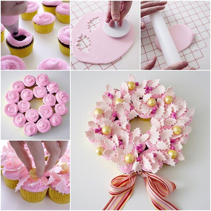 The Perfect DIY Beautiful Christmas Cupcake Wreath