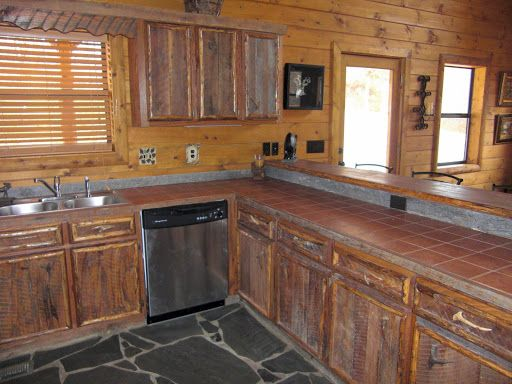 Barn wood cabinets home pinterest for Barn kitchen cabinets