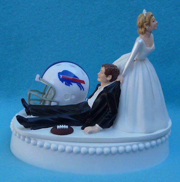 Wedding Cake Topper Buffalo Bills Football Themed W Garter Sports Fan Bride Groom Grooms