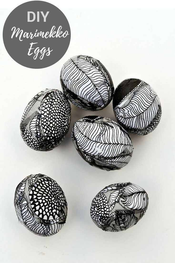 Create a stylish Nordic look at the table with Marimekko Easter egg decorating.  All you need are some paper napkins and a bit of mod podge to make these unique decoupaged eggs. #Marimekko, #Eastereggs #eggsdecoration #decoupage
