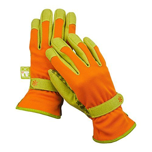 Dig It Handwear Innovative Utility Garden Gloves with Nail Protection,  Large, Burnt Orange =