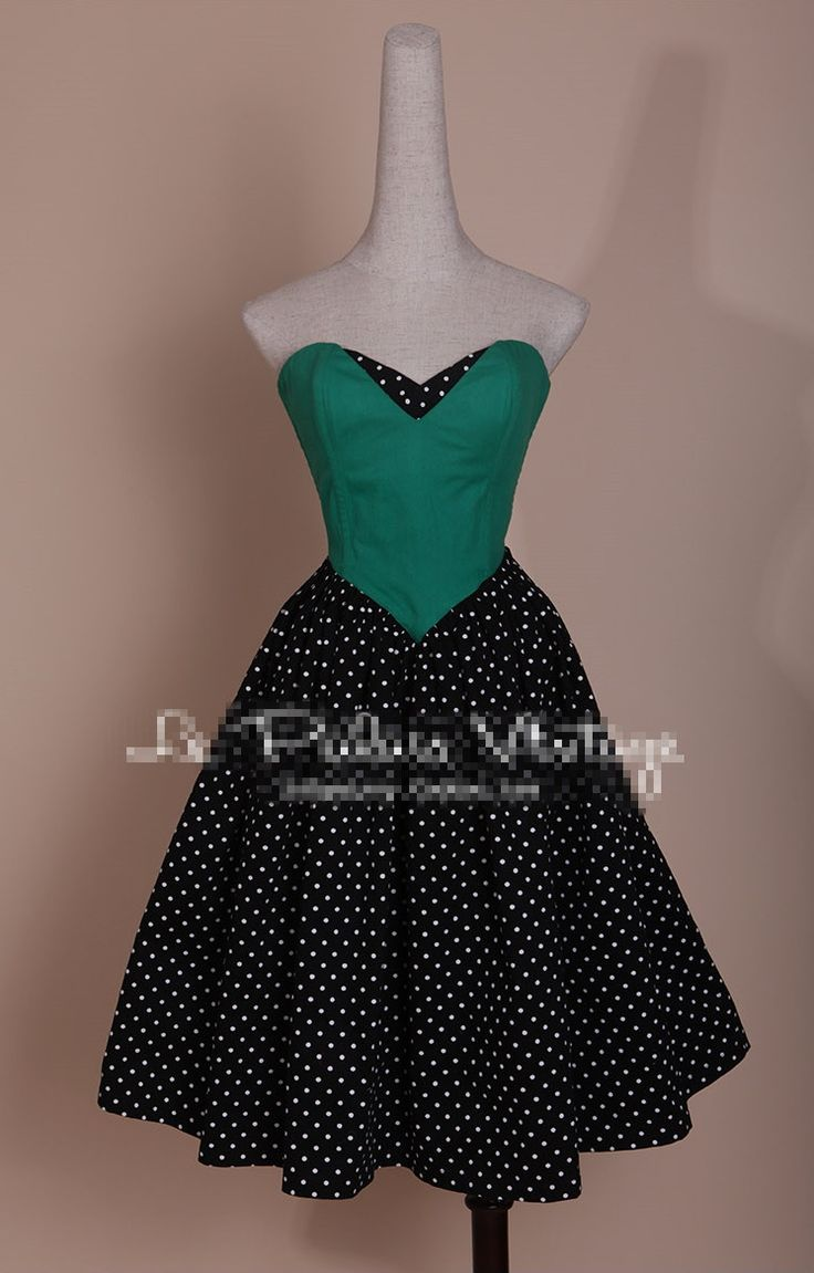 50s Pinup Retro Vintage Black White Polka Dot Strapless Patchwork Emerald Green Bandage Dress Party Cocktail Dresses Vestidos