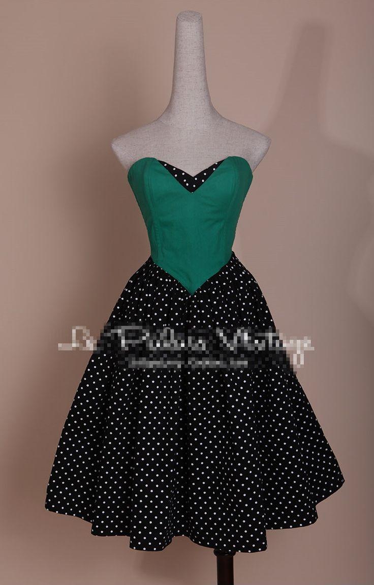 50s Pinup Retro Vintage Black White Polka Dot Strapless Patchwork Emerald Green Bandage Dress Party Cocktail Dresses Vestidos