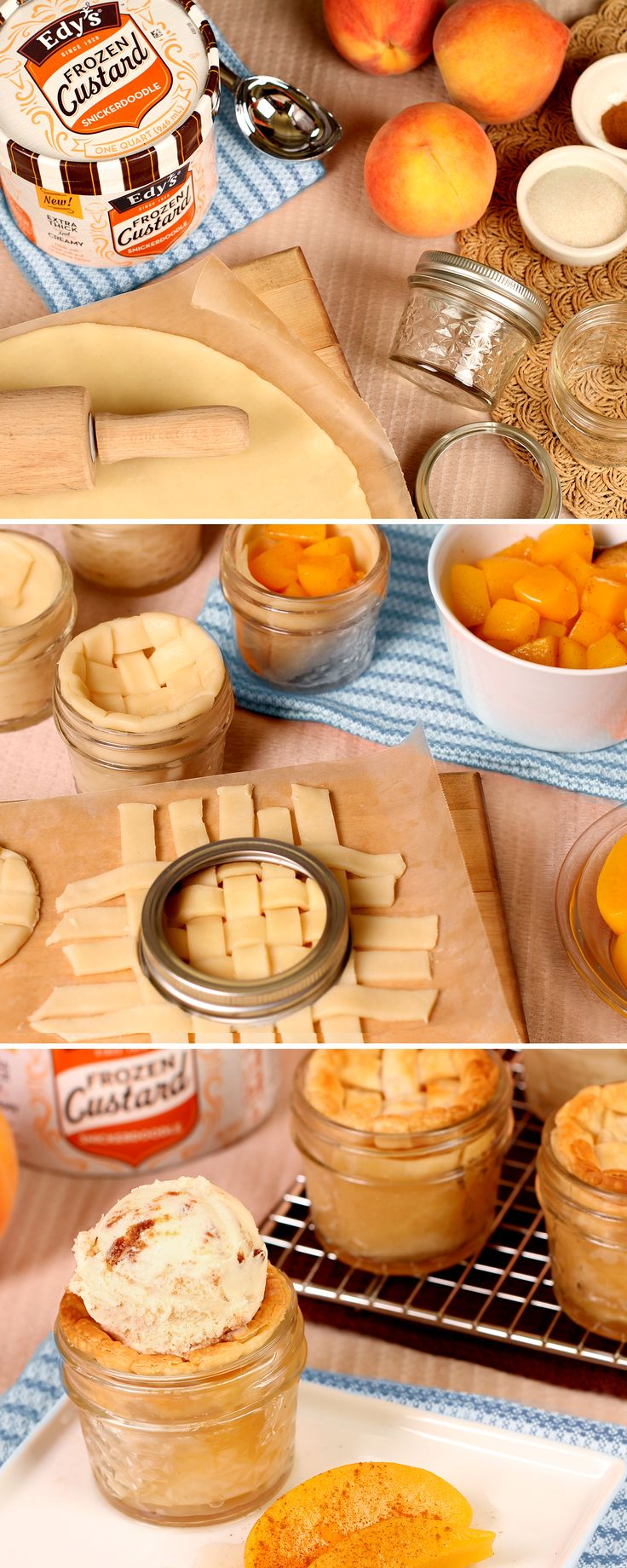Your family will think this dessert recipe is peachy keen! Place your peach pie filling into small mason jars and cover it with pie dough in a lattice pattern. After you bake the pie and the crust is nice and flakey, top it off with a scoop of extra thick and creamy Snickerdoodle Frozen Custard! Who knew it could be so easy to serve up a summer classic?