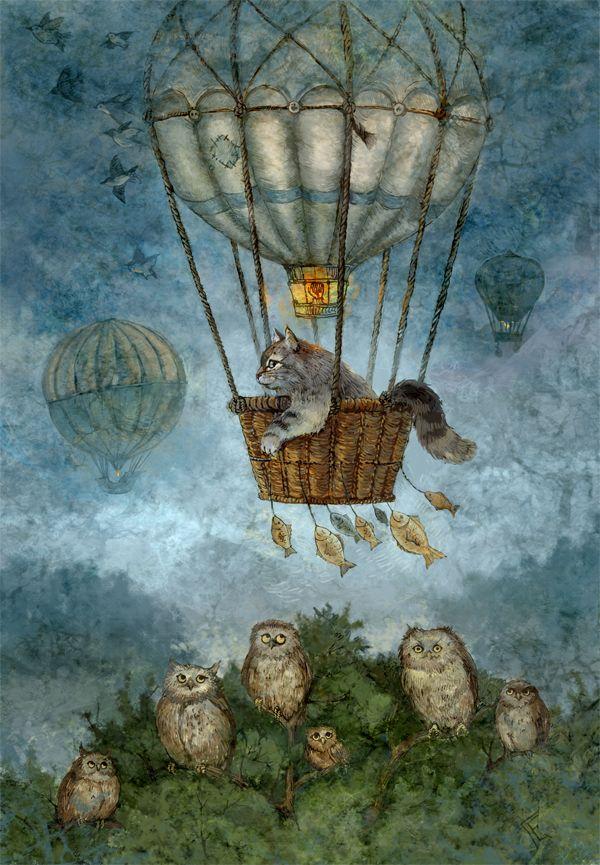 Сообщество иллюстраторов | Иллюстрация Галина Егоренкова - Полет на воздушном шаре. Классика. Растровая (цифровая) графика