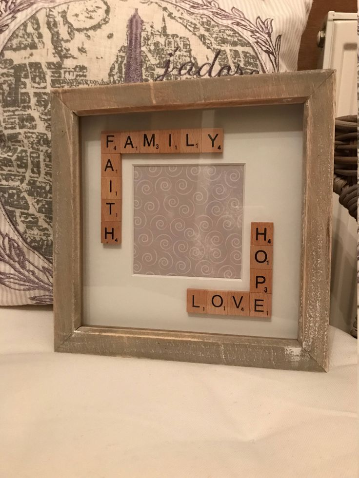 Scrabble Box Frame Gift Idea. Rustic Frame. Shabby Chic Look. Family, love, hope and faith. Photo Frame size 4 x 4 inch. Perfect for Christmas. #christmascrafts #boxframeideas #boxframe #scrabble #etsy #handmade #shopsmall