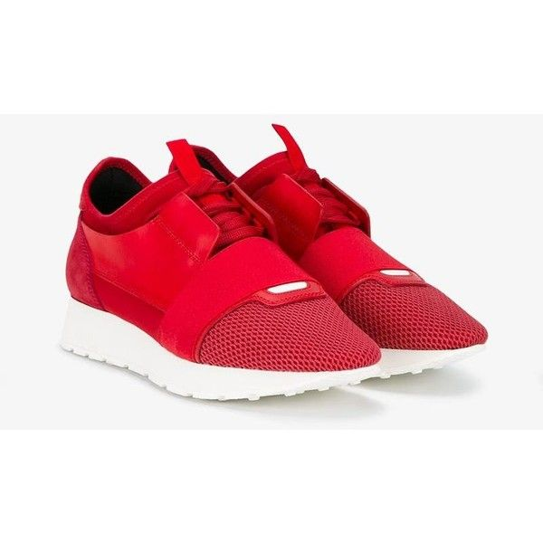 Balenciaga  'Race Runner' sneakers (1.529.550 COP) ❤ liked on Polyvore featuring shoes, sneakers, lace up sneakers, balenciaga shoes, balenciaga, lacing sneakers and red trainers