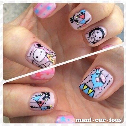 sentimantal circus hand drawn nailart design // branch: manicurious