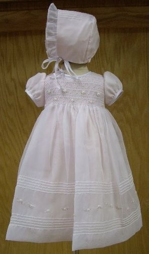 $68 Stunning Sheer Pink Gown and Bonnet Set
