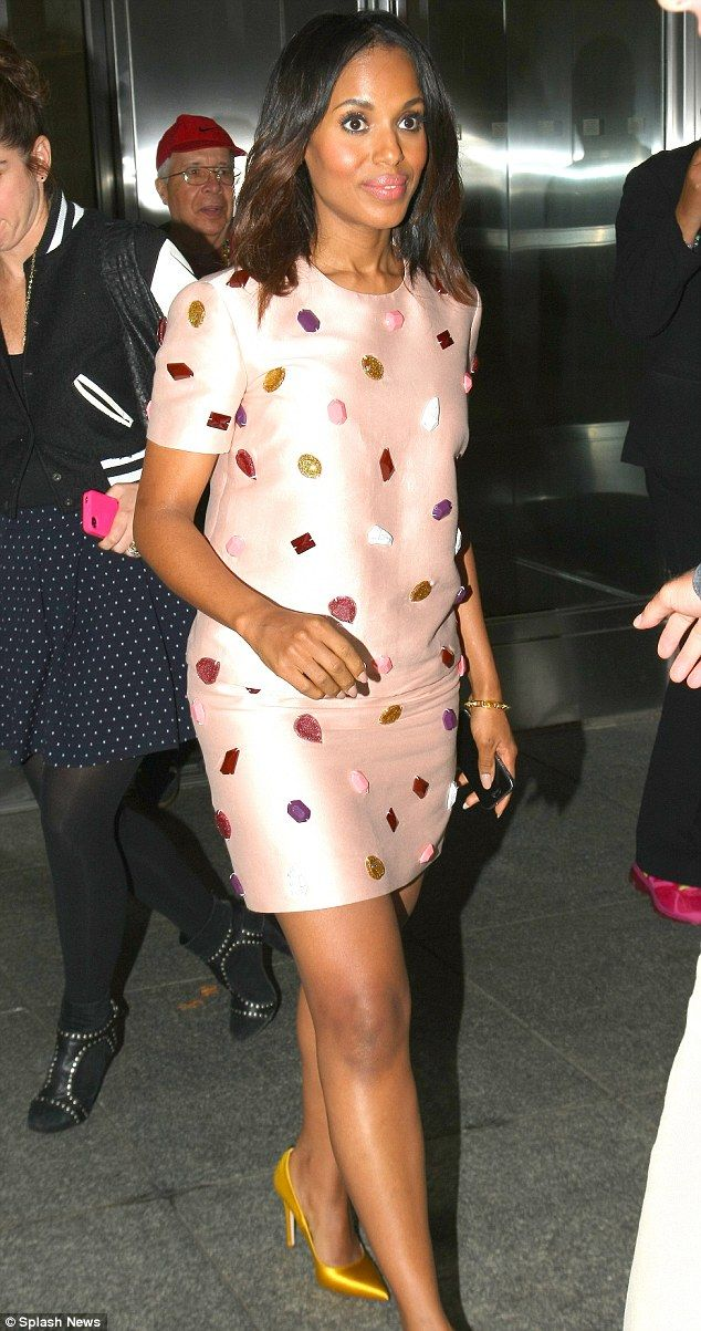 Class act: Kerry Washington looked lovely in a beaded pink mini dress as she stepped out in Midtown Manhattan on Monday