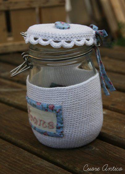 69 best ganchillo tapas de botes images on pinterest mason jars vaso di vetro rivestito a mano alluncinetto di cuoreantico ccuart Gallery