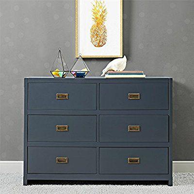 Baby Relax Miles 6 Drawer Dresser Graphite Blue