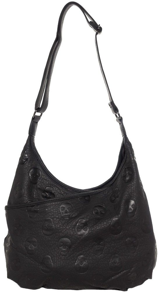 LOUNGEFLY EMBOSSED SKULL CROSSBODY HOBO BAG Are you on the wrong side of the tracks? This super soft faux leather hobo bag has all-over embossed skulls. It features a snap closure for the main compartment which is lined and has a small interior zipper pocket for your valuables. There is an outer pocket that works great to put your cell phone or anything you need to be able to get out quickly. $60.00 #loungefly #purse #hobobag #skulls