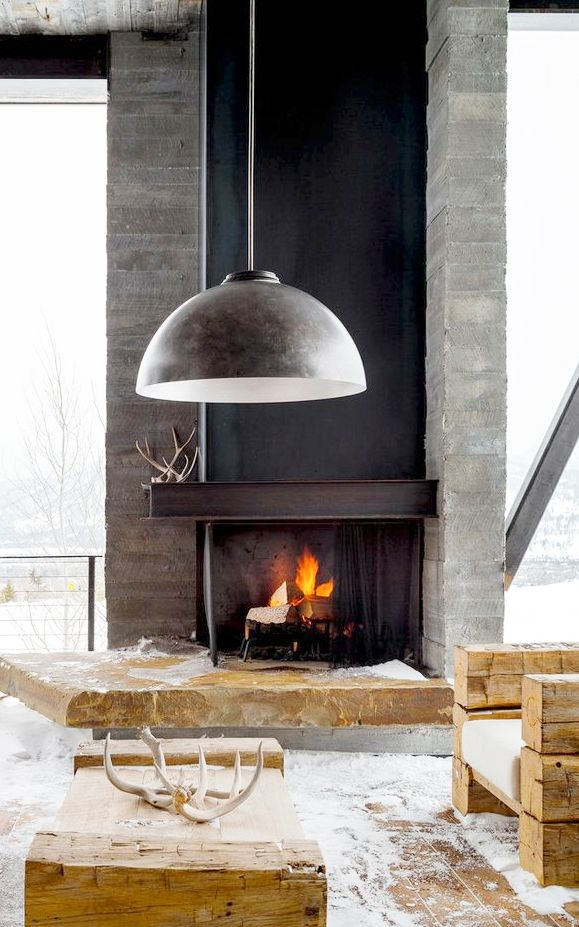 Indoor Outdoor Fireplace And Pendant Home Decor