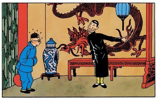 """Tintin entre dans la fumerie d'opium """"Le Lotus bleu"""""""