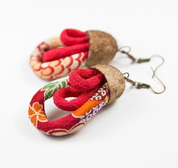 gelosia orange and tomato japanese silk chirimen cords and chocolate dyed silk cocoon earrings- textile jewelry