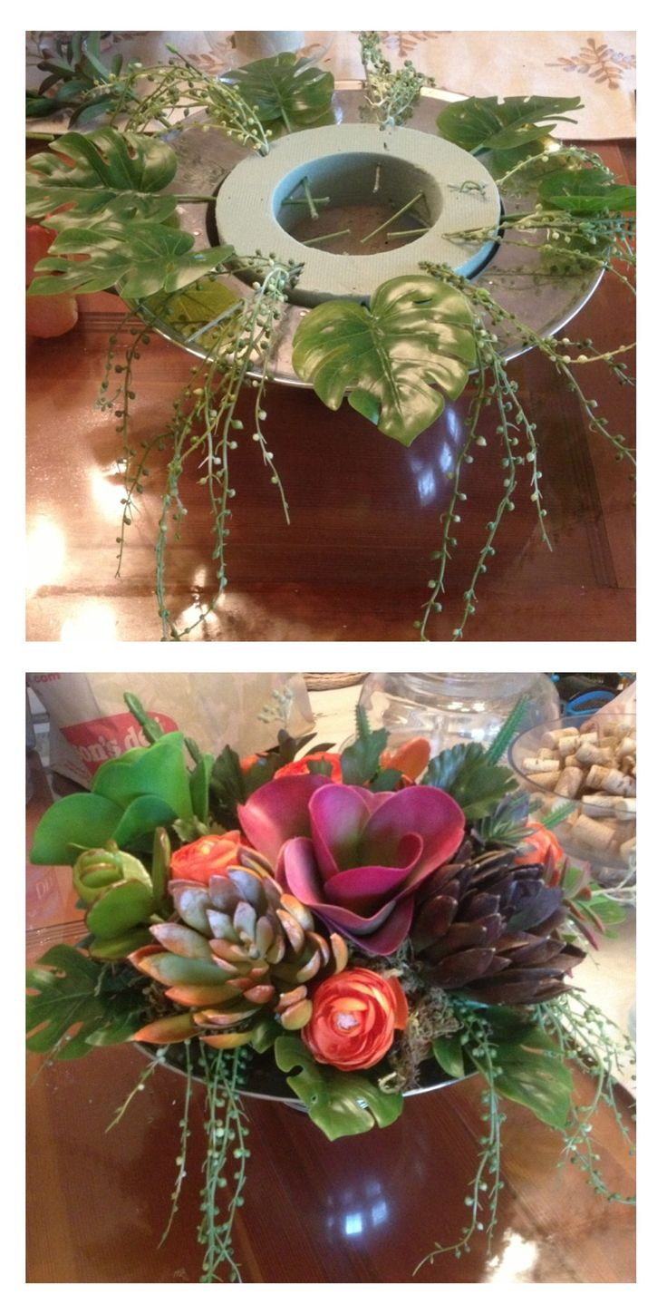 DIY floral arrangement I made with faux succulents I got on clearance at Michaels. The $1.95 bowl is vintage from goodwill an the floral foam came from dollar tree. This was a cheap project- only cost me about $20 for everything! Another notch in my craft belt for this guy :)