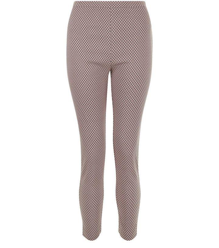 Pantalon rose pâle en bengaline à motif géométrique | New Look
