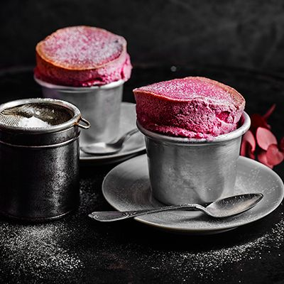 Blackberry Souffle unsalted butter, for greasing  • 3 tbsp golden caster sugar, plus extra to dust  • 150g blackberries  • few drops vanilla extract  • few drops lemon juice  • ½ tbsp cornflour  • 2 egg whites  • icing sugar, to dust