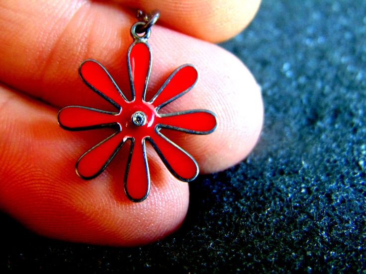 Silver and Enamel Charm Neclace,Sterling Silver Enamel and Diamond Necklace for Women,Red Daisy Flower Charm, Gift for Women,Gift for Her by ArchipelagosBreeze on Etsy
