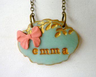 Collar personalizado de Junior Dama de honor, Emma Necklace, cinta, niña, nombre, Aqua Coral, regalo de la boda, hermana, favor de cumpleaños de niña, encantadora