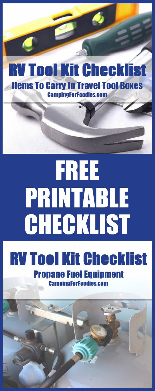 FREE printable version of our RV Tool Kit Checklist! Camping Hacks, Camping Tips, RV Camping, Tent Camping, Brilliant Camping Ideas!
