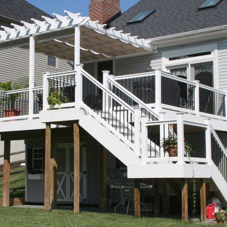 Deck with screened-in pergola...like this for top portion of deck