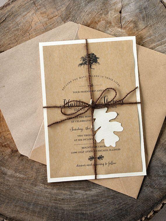 Inscription arbre rustique (20) faire-part de mariage personnalisé, Laser coupe arbre Invitations de mariage, faire-part de mariage chêne, Eco Friendly
