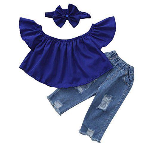 Memela Girls Summer Dress,Short Sleeve Solid Denim Dress Outfits Set Clothes