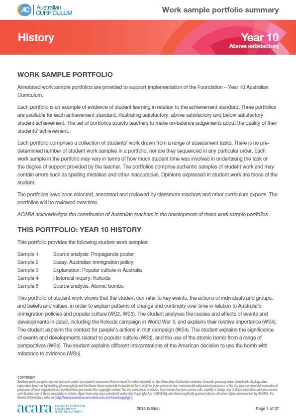 Year 10 History work sample portfolio - above satisfactory