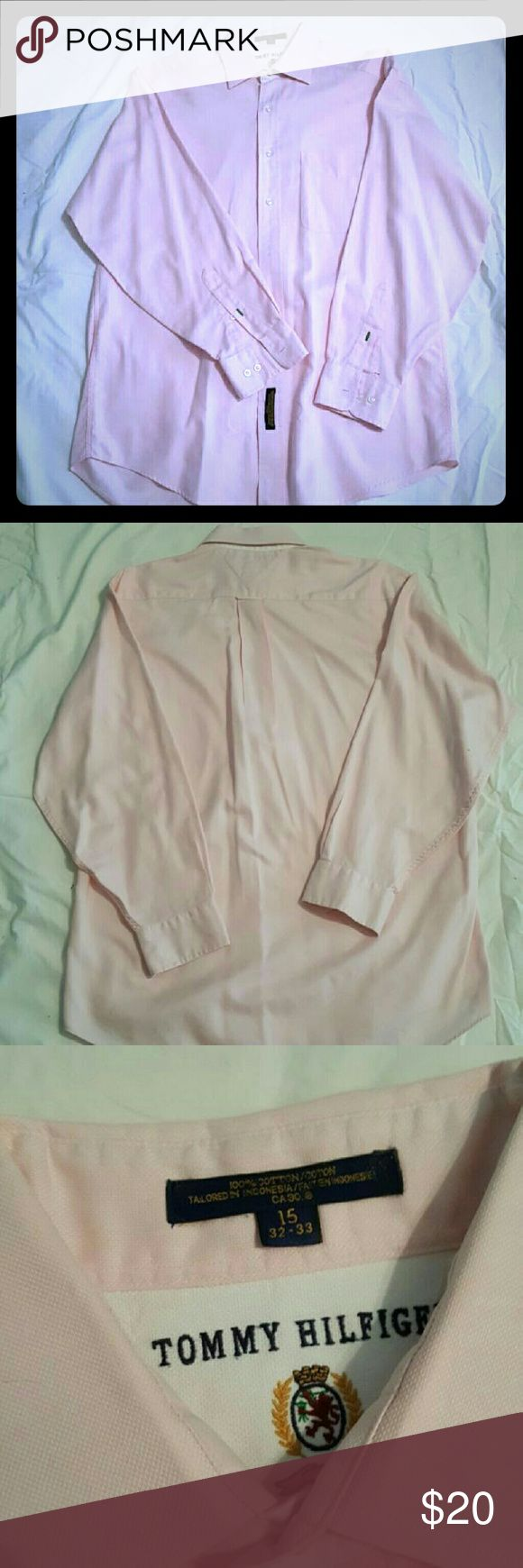 Tommy Hilfiger Men's Button Down Back to School SpecialMens light pink button down shirt. In great condition.  Has only been dry cleaned, never machine washed. Absolutely no stains. Size is 15/32-33. Smoke free home. PRICE IS FIRM. See Back to School Sale post for sale details.   Smoke free home. No trades. Open to reasonable offers unless marked as firm.  Happy Poshing!!  Tommy Hilfiger Shirts Casual Button Down Shirts
