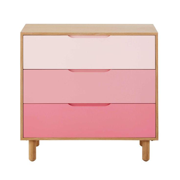 Comò rosa in legno per bambini L 83 cm Lea | Maisons du Monde