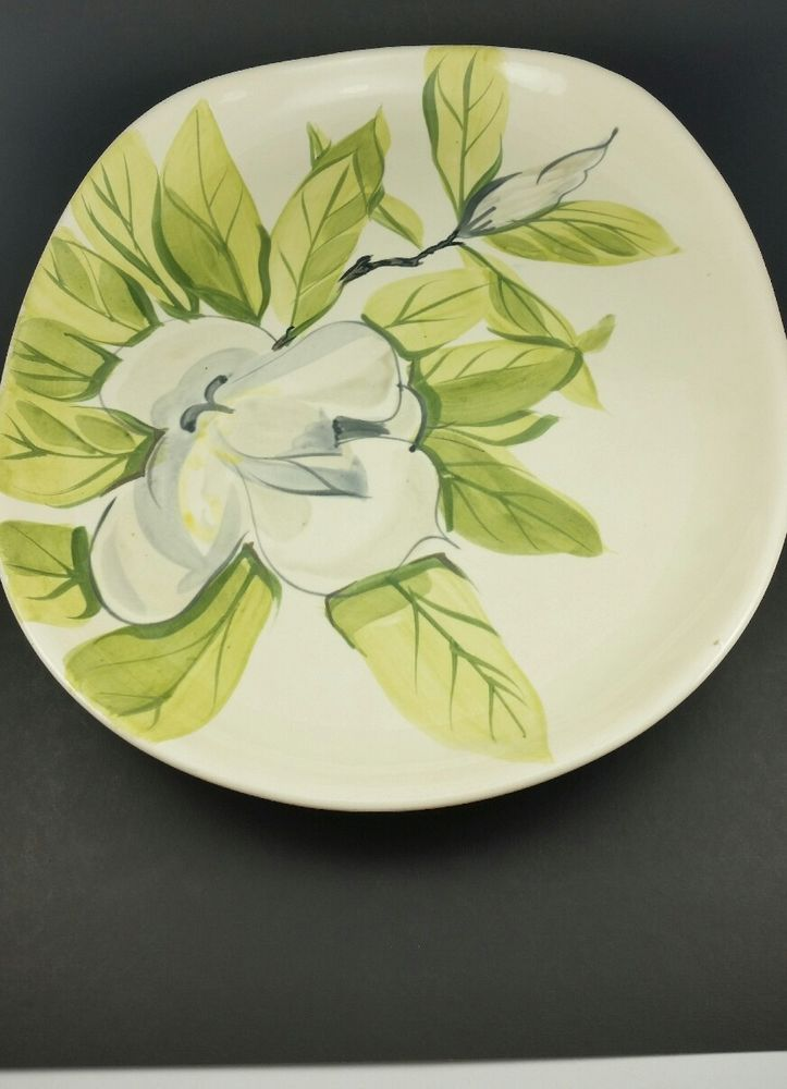 Red Wing Hand Painted Pottery Chartreuse Magnolia Oval Serving Platter 13in Redwing Midcenturymodern