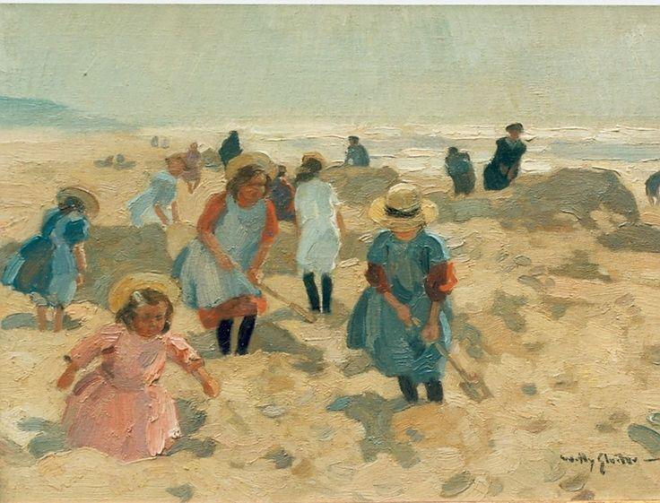 Spelende kinderen op het strand, olieverf op doek 26,5 x 36,3 cm., gesigneerd r.o.